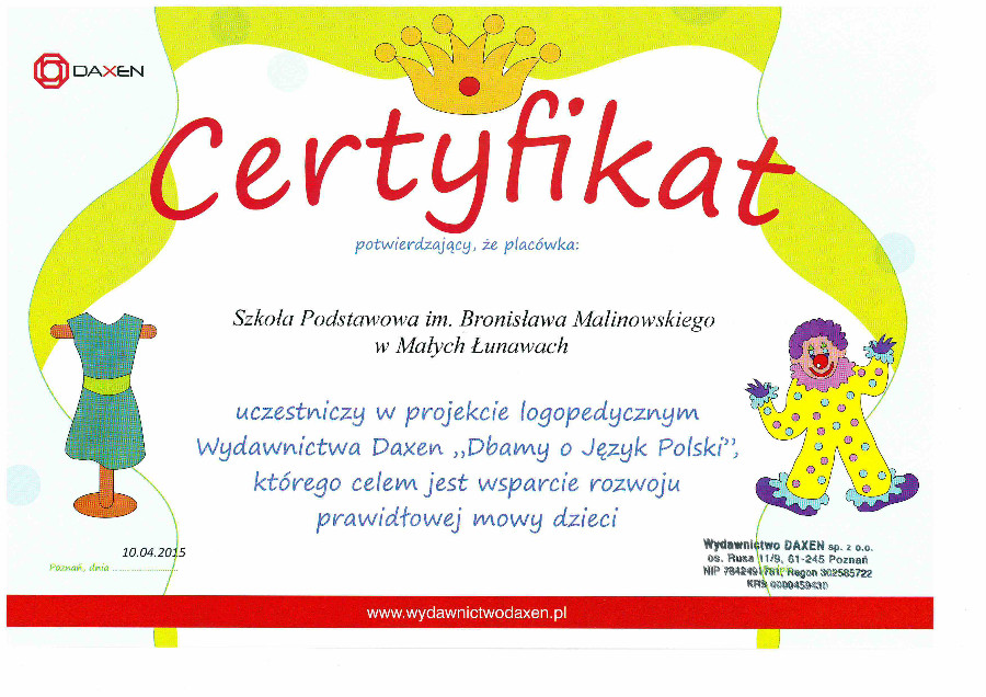 Certyfikat logopedia